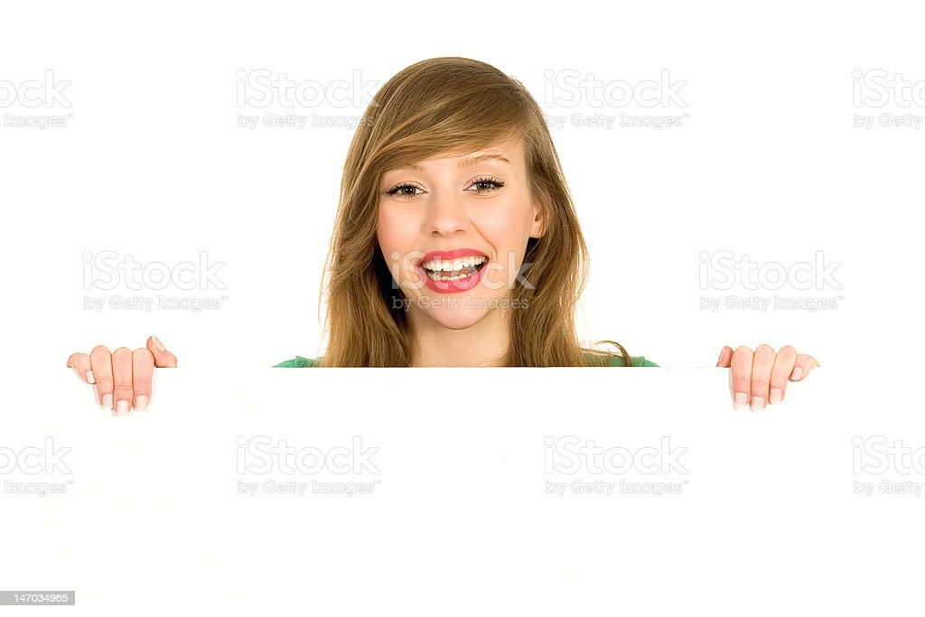 Woman holding banner add royalty-free stock photo