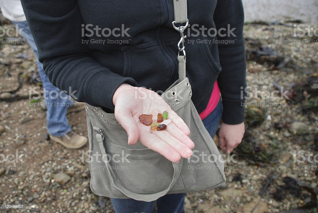 Woman Holding Beach Glass royalty-free stock photo