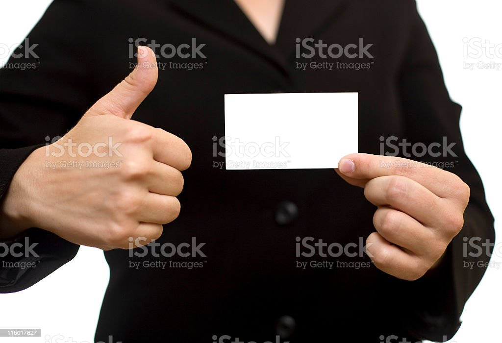 Woman Holding Blank Card royalty-free stock photo