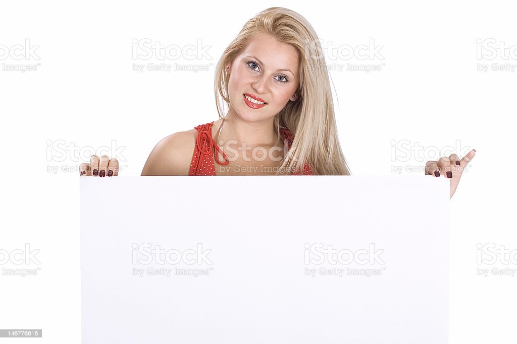 Woman holding blank poster board royalty-free stock photo