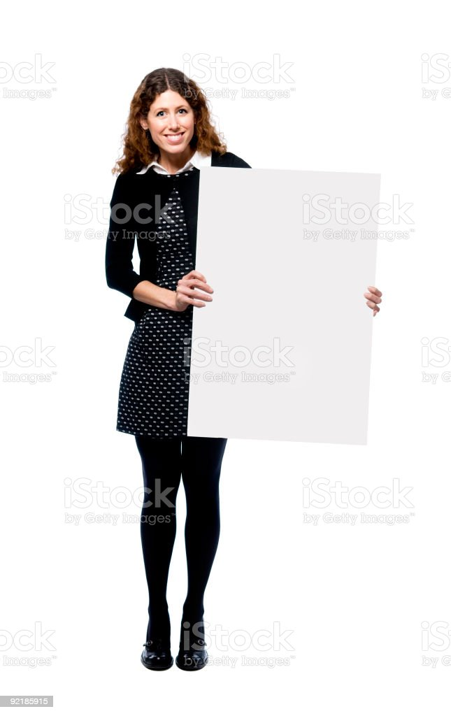 woman holding blank sign royalty-free stock photo