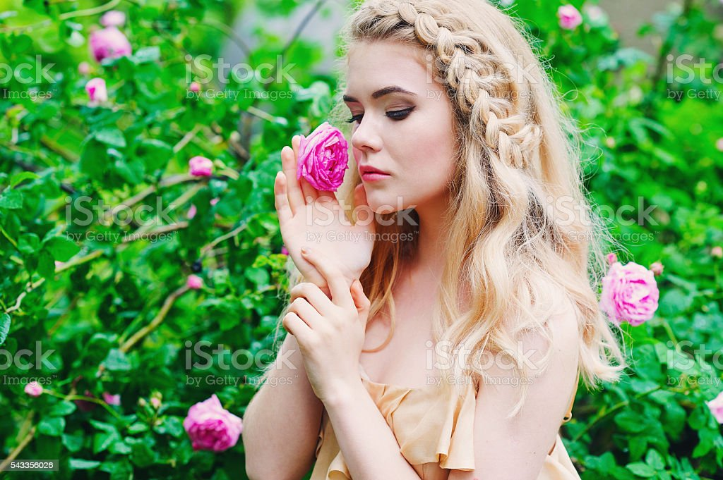 Woman holding blooming rose flower stock photo