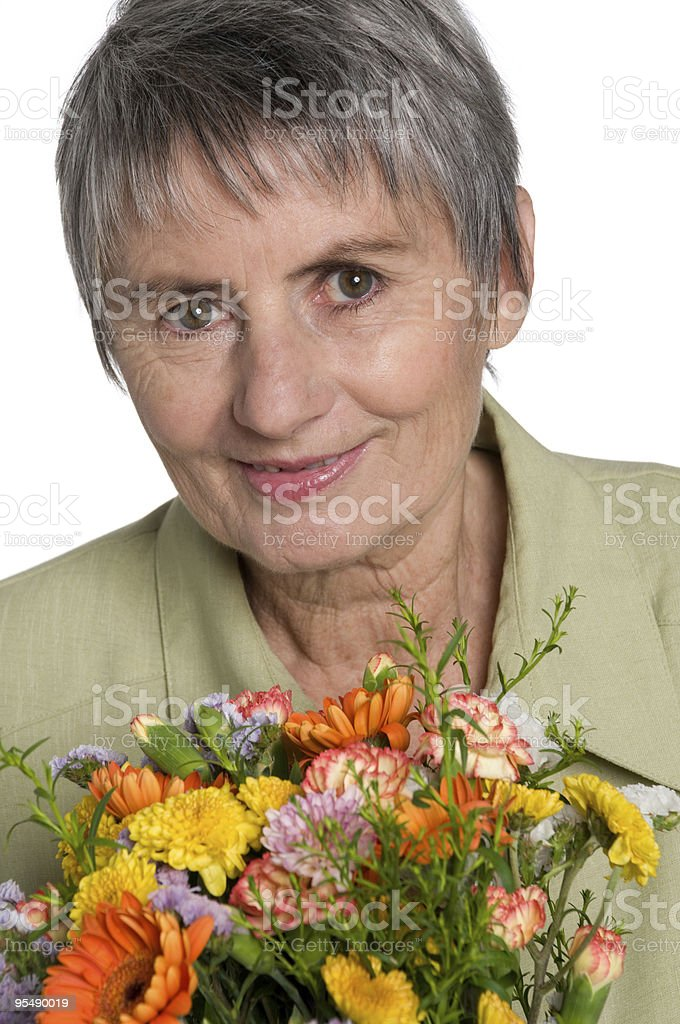 woman holding bouquet stock photo