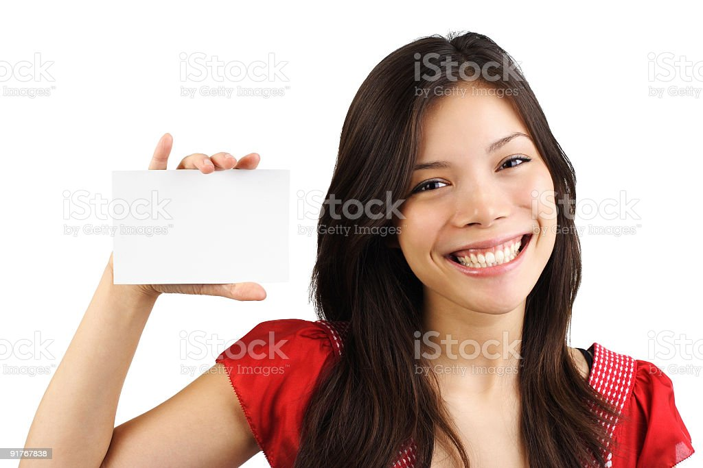 Woman holding card royalty-free stock photo