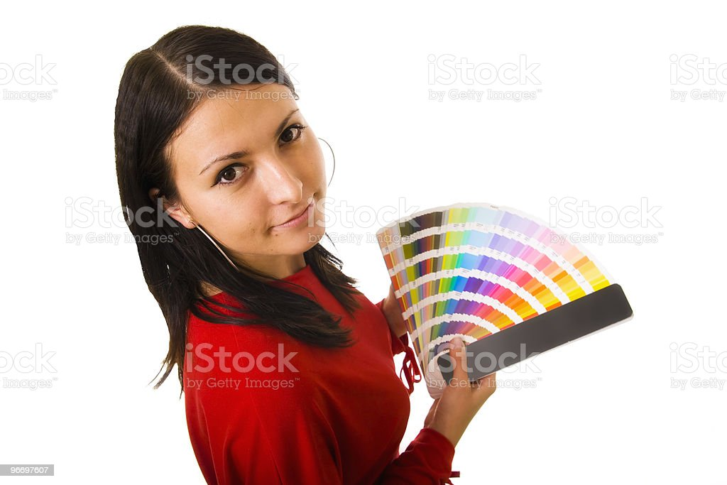 Woman holding color guide royalty-free stock photo