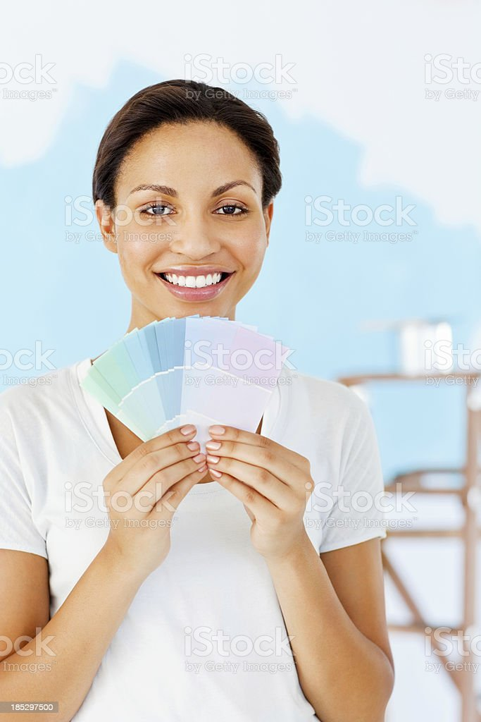 Woman Holding Color Swatches royalty-free stock photo