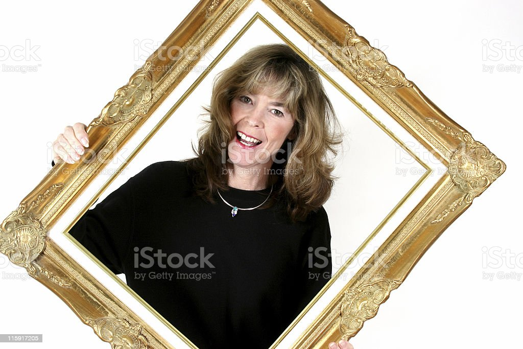 woman holding decorative frame. royalty-free stock photo