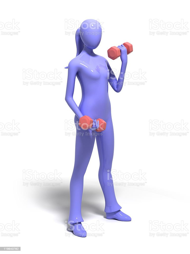 Woman holding dumbbells stock photo