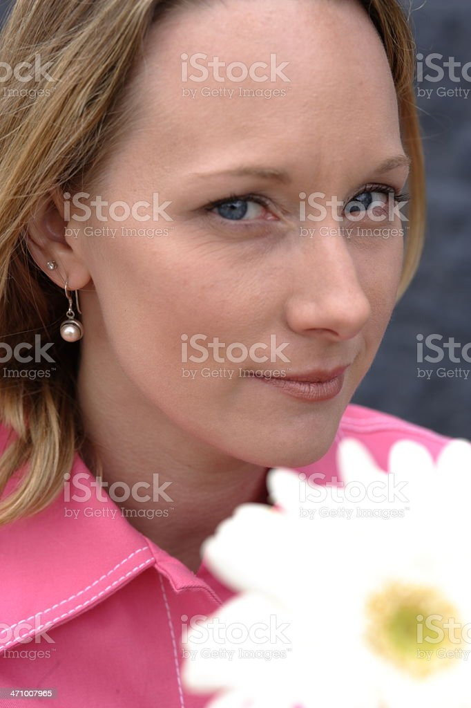 Woman holding flowers royalty-free stock photo