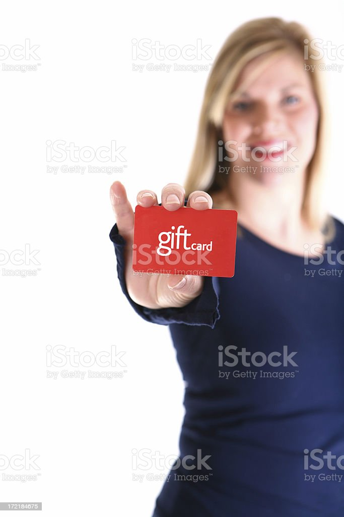 Woman Holding Gift Card stock photo