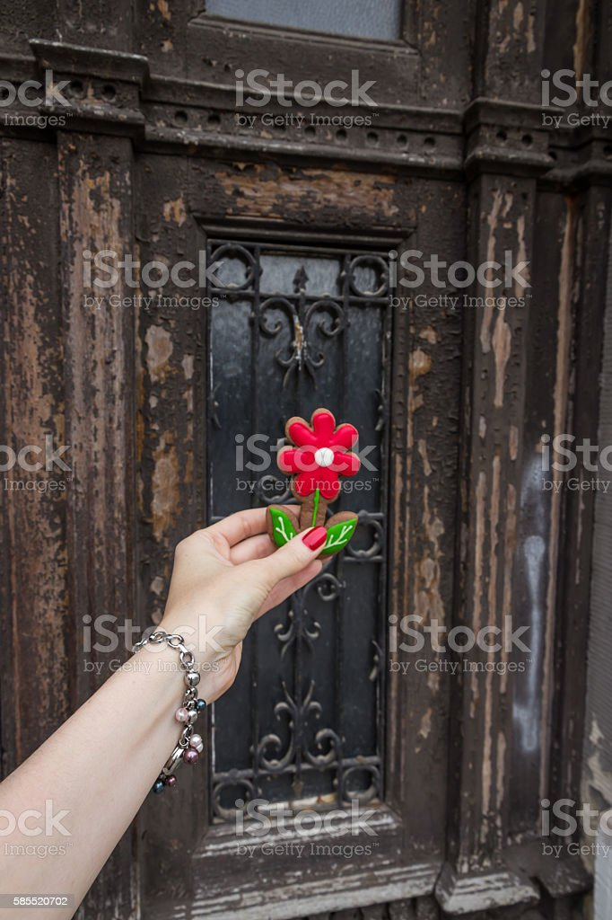 Woman holding gingerbread cookie in the form flower stock photo