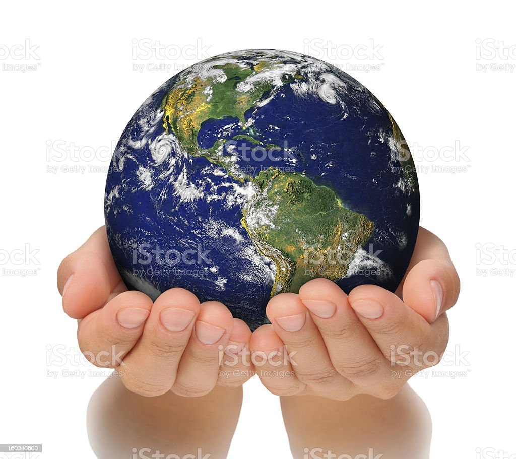 Woman holding globe on her hands, South and North America stock photo
