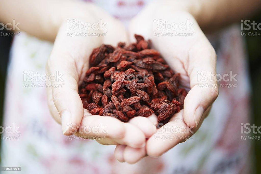Woman Holding Handful Of Goji Berries stock photo