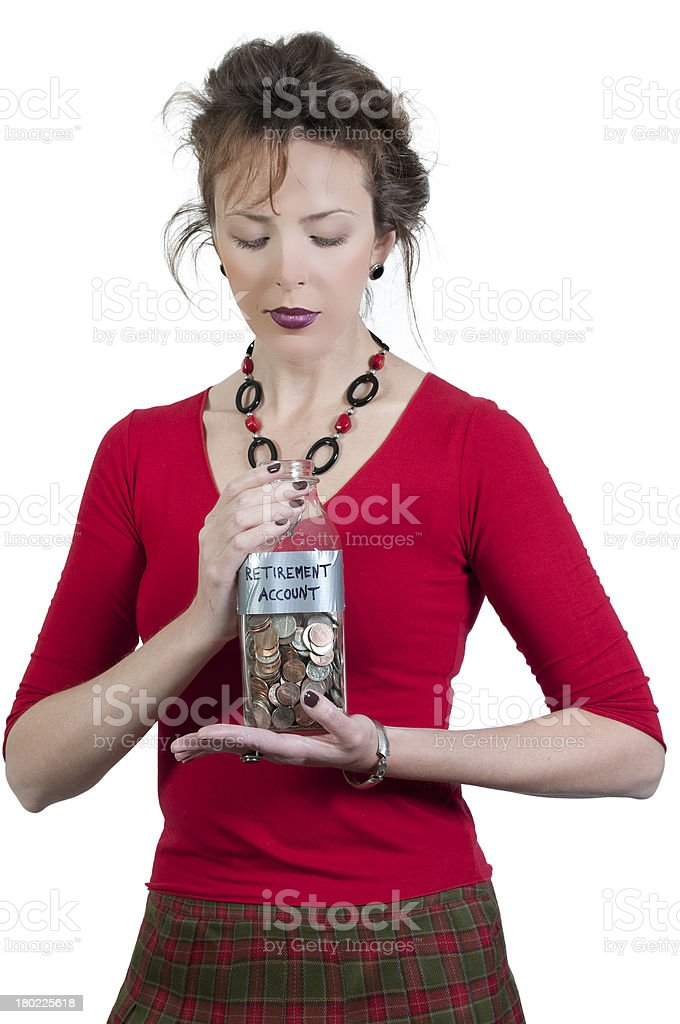Woman Holding Her Retirement Account royalty-free stock photo