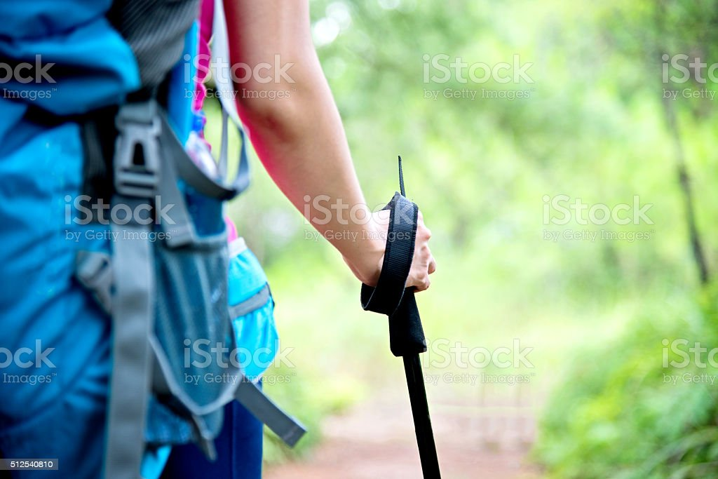Woman holding hiking pole stock photo