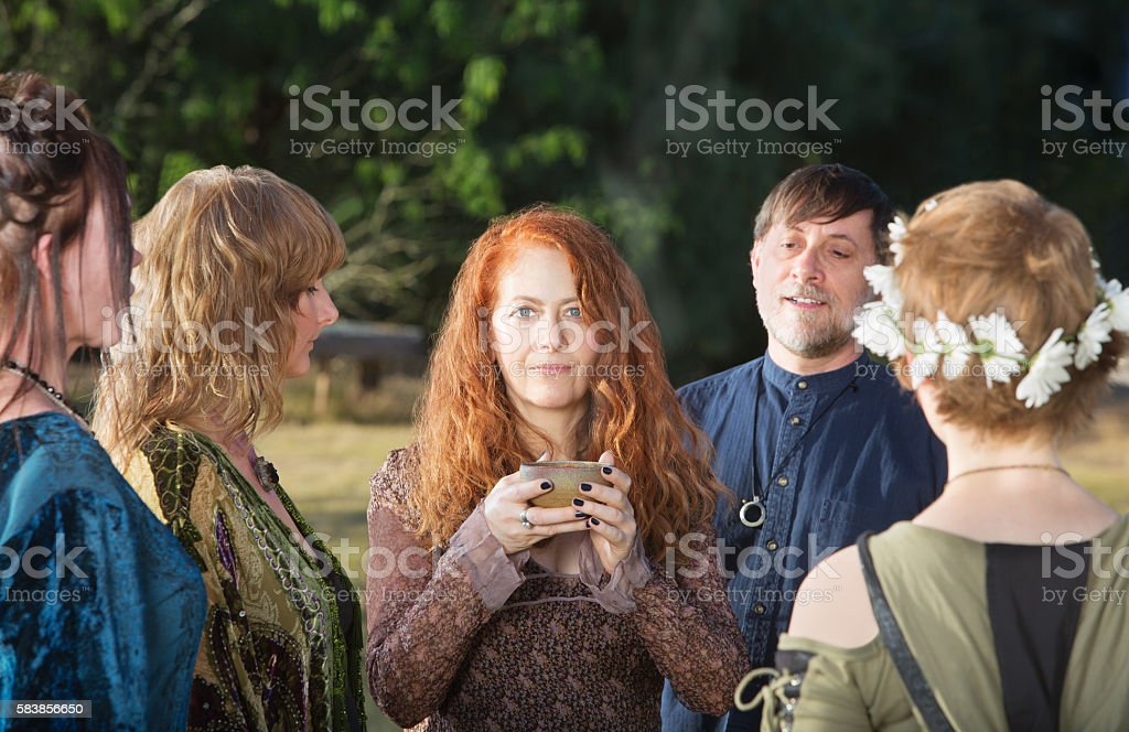Woman Holding Incense Bowl stock photo