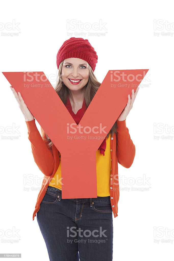 Woman holding letter Y. royalty-free stock photo