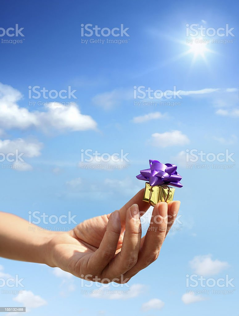 woman holding little gift box royalty-free stock photo