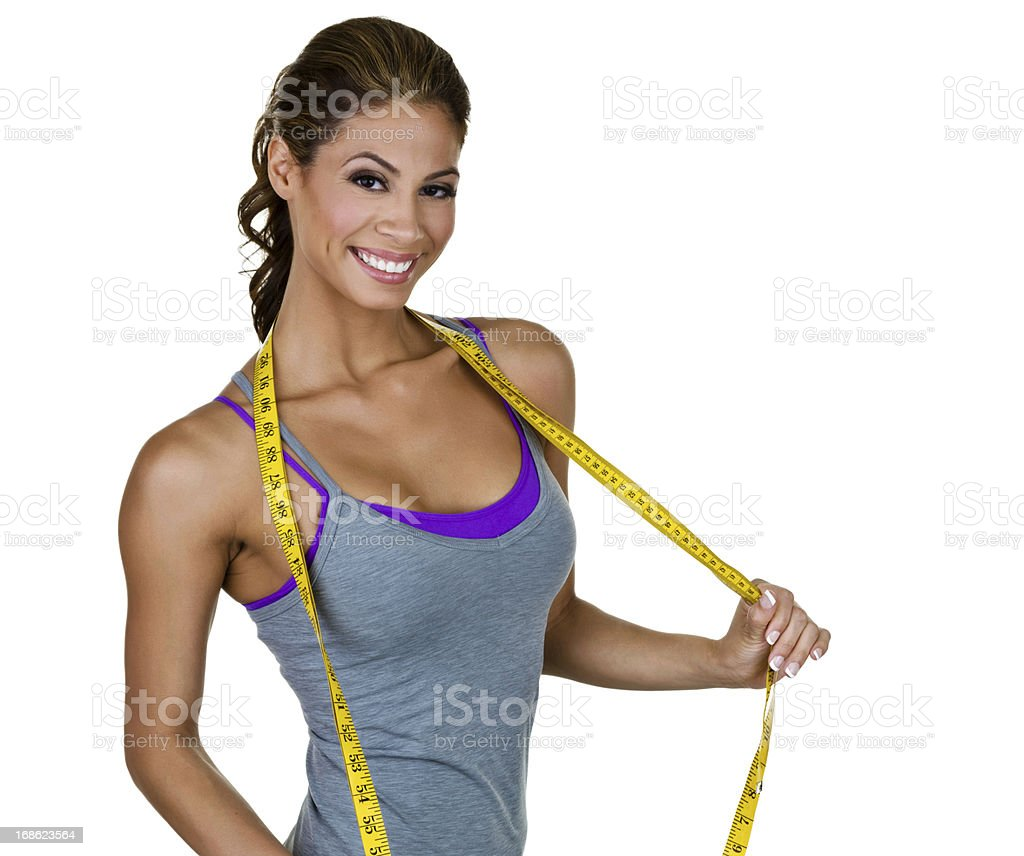Woman holding measuring tape royalty-free stock photo