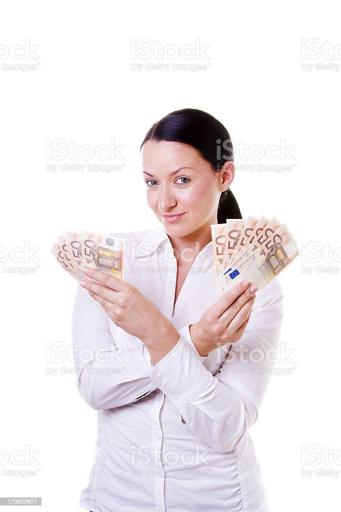 Woman holding money royalty-free stock photo