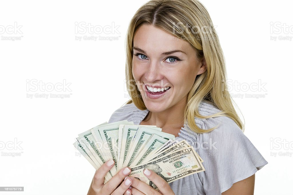 Woman holding money royalty-free stock photo