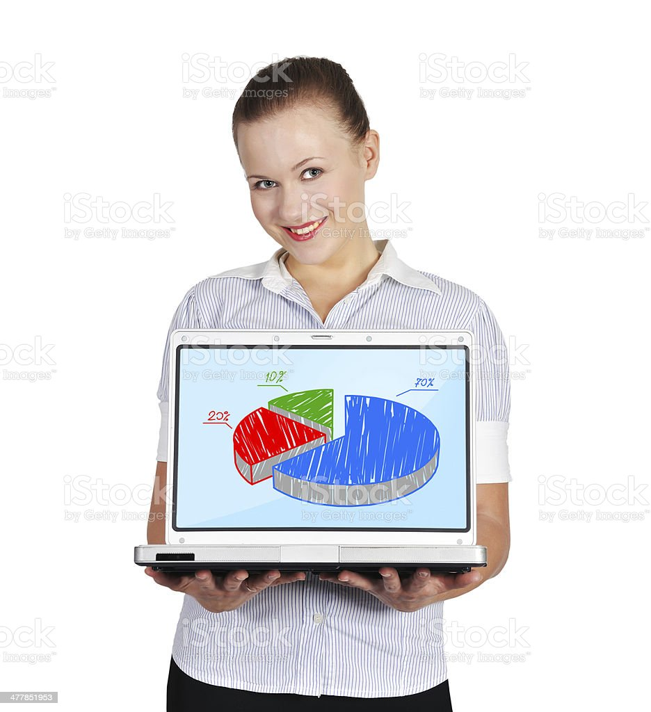 woman holding notebook with chart royalty-free stock photo