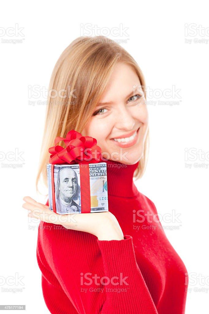Woman Holding Offering Money Cash Gift on White Backround stock photo