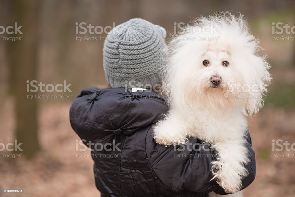 Woman holding on her shoulder her puppy stock photo