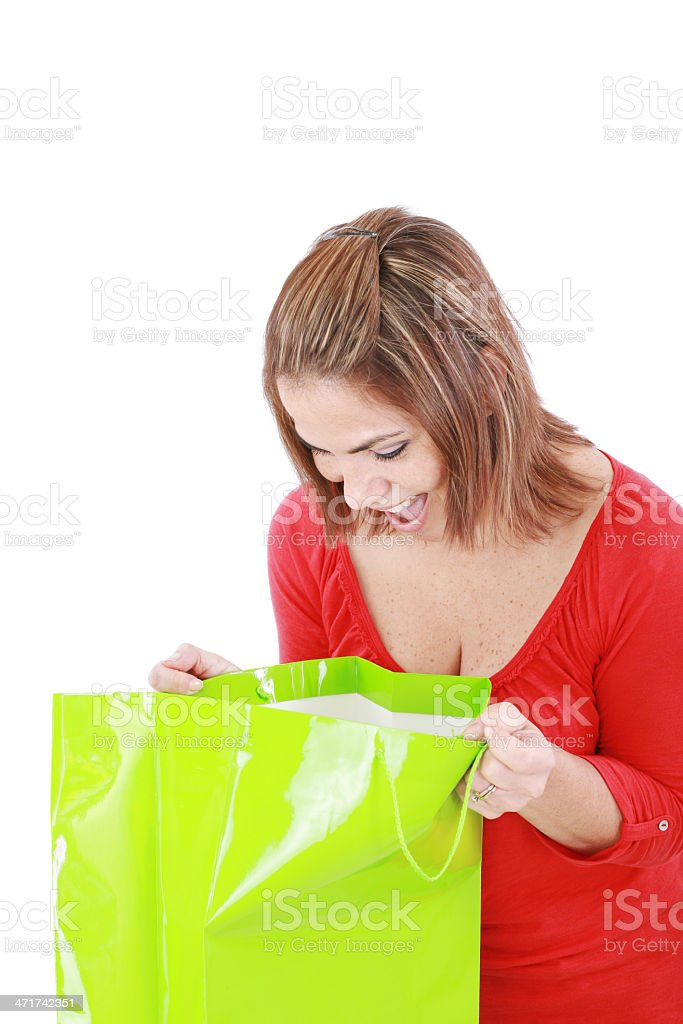 woman holding opened shopping bag royalty-free stock photo