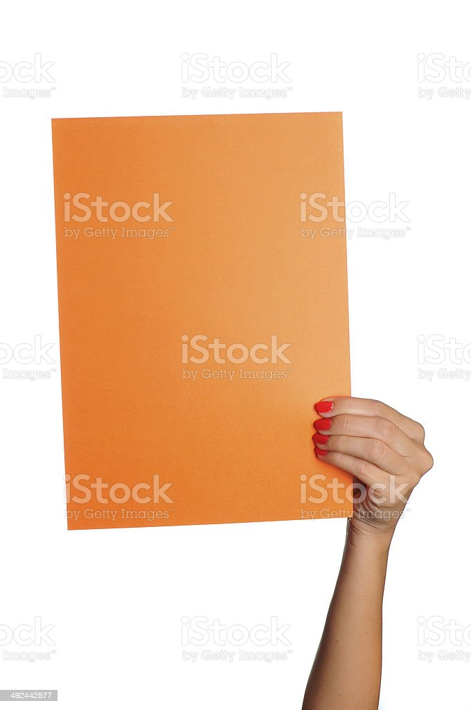 Woman holding orange paper board on isolated white background stock photo