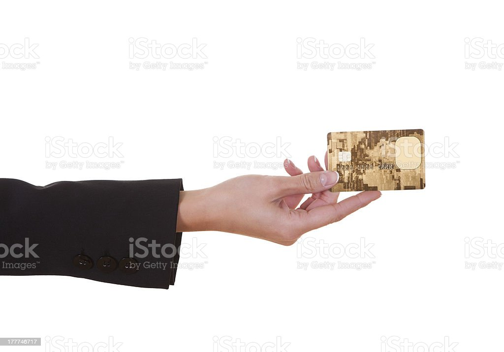Woman holding out a credit card stock photo