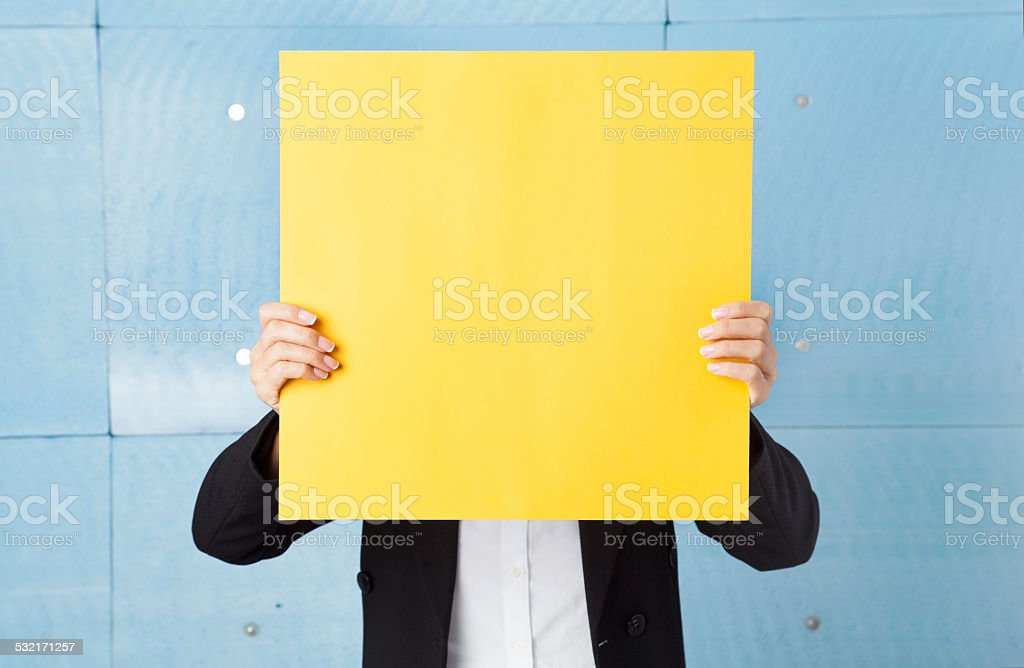 Woman Holding Paper stock photo