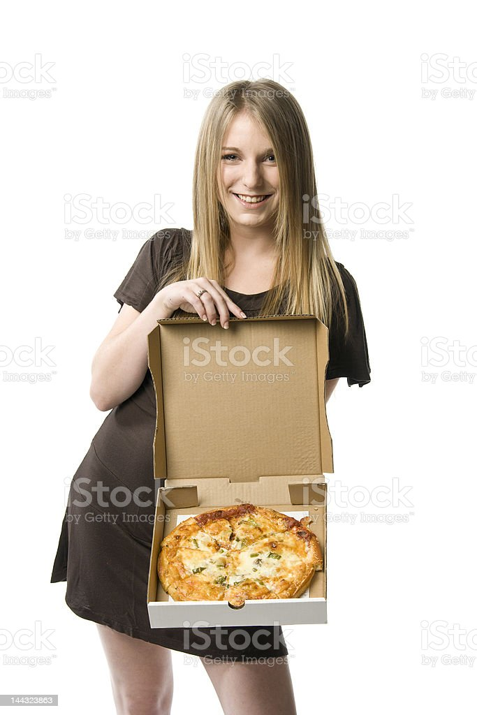 Woman holding pizza royalty-free stock photo