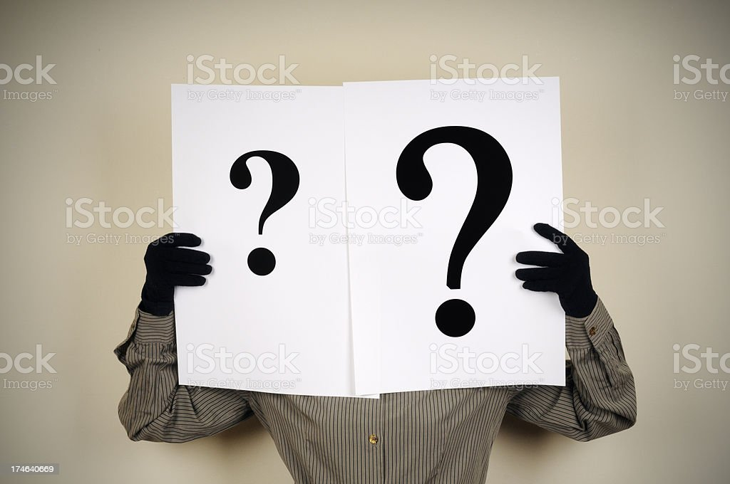 Woman Holding Question Mark Paper In Front Of Face royalty-free stock photo