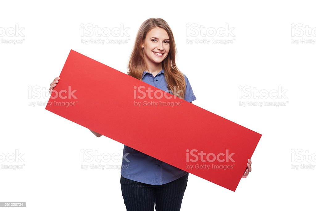 Woman holding red blank cardboard stock photo