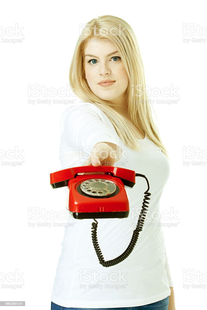 woman holding red classic phone royalty-free stock photo