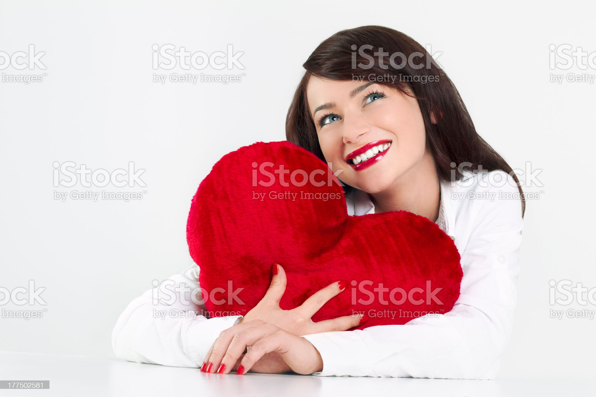 Woman holding red heart royalty-free stock photo