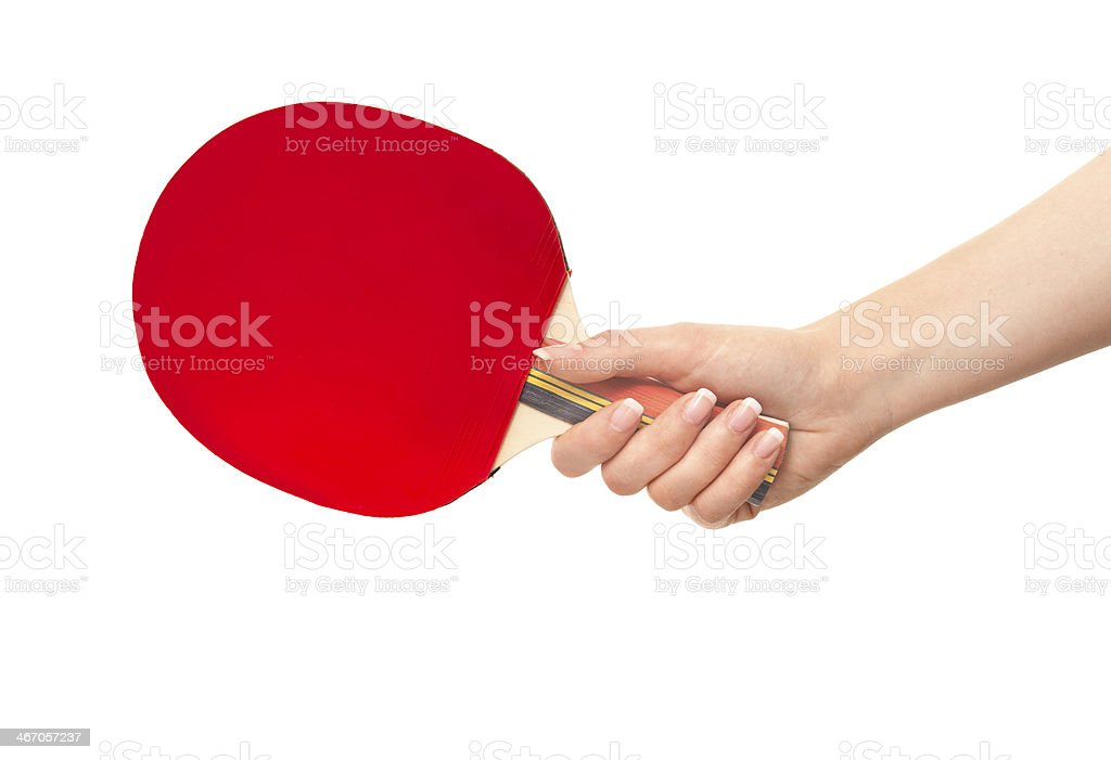 Woman holding red table tennis racket royalty-free stock photo