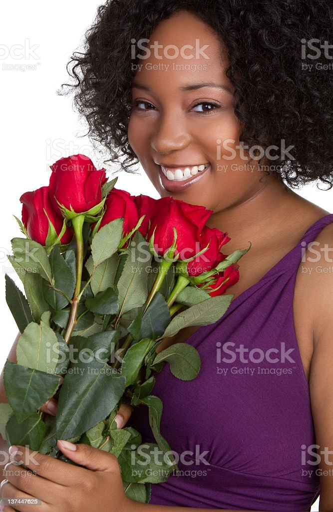Woman Holding Roses royalty-free stock photo