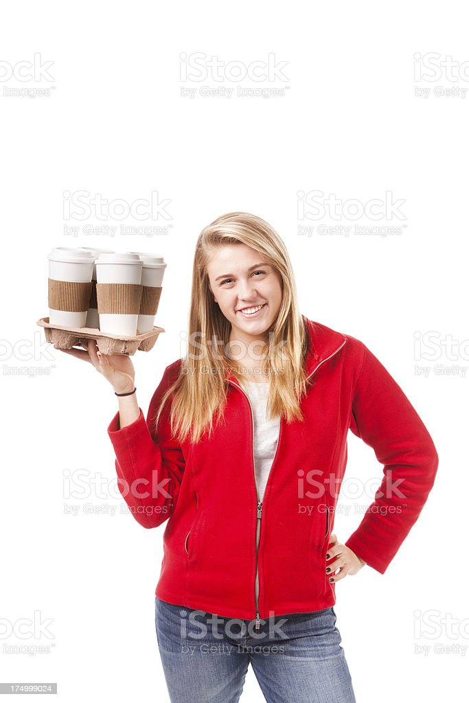 Woman Holding Several Cups of Take Out Hot Drink Coffee royalty-free stock photo