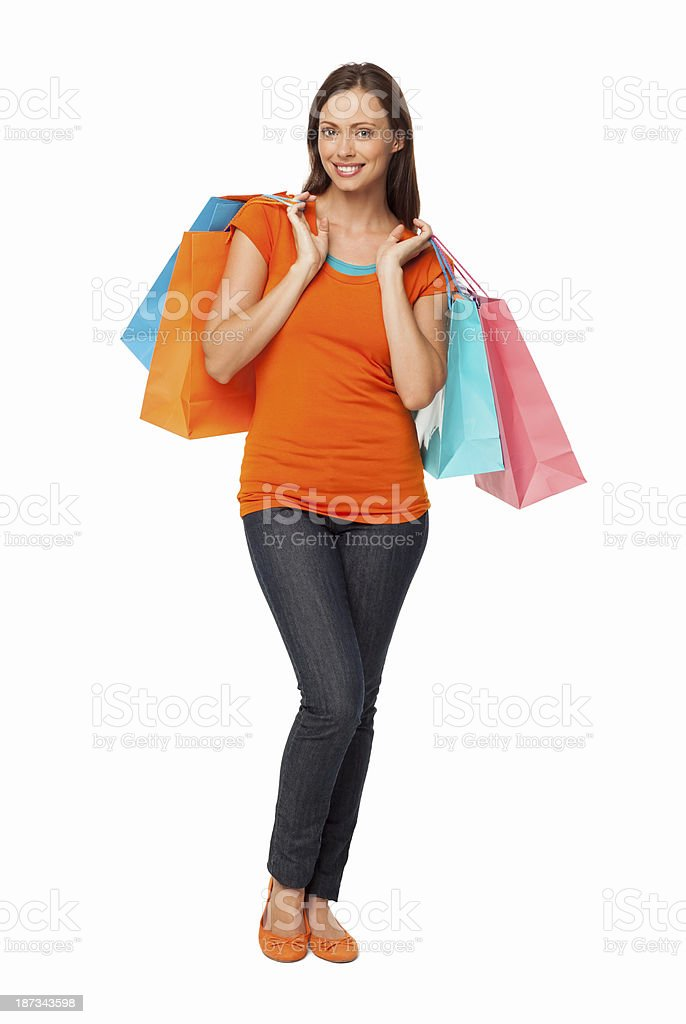 Woman Holding Shopping Bags - Isolated royalty-free stock photo