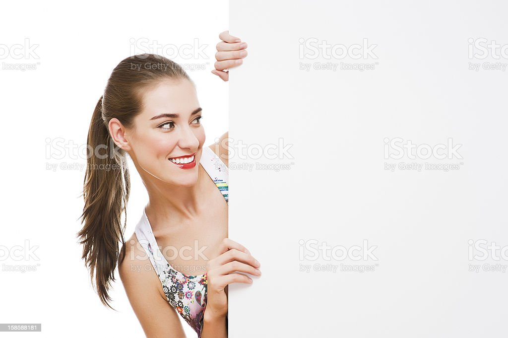 woman holding signboard royalty-free stock photo