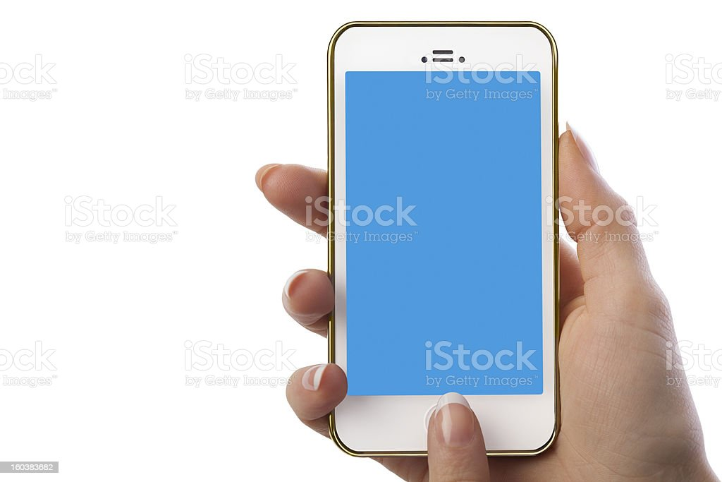 Woman Holding Smart Phone With Blank Blue Screen royalty-free stock photo