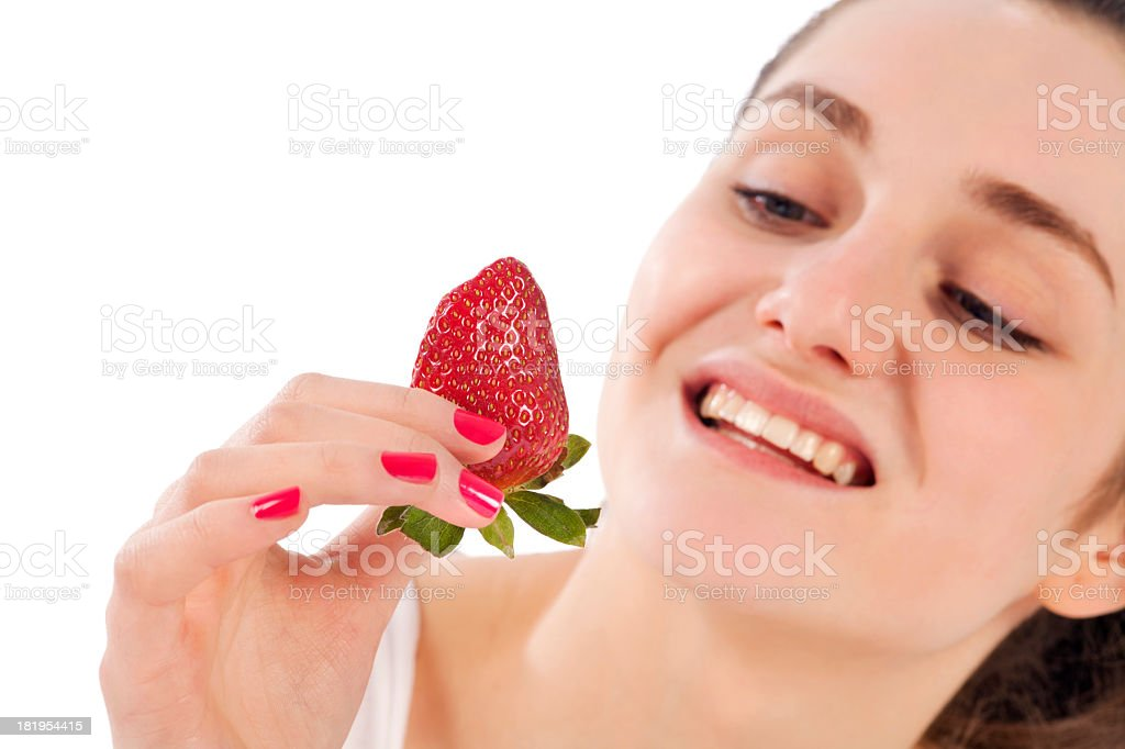 Woman holding strawberry royalty-free stock photo
