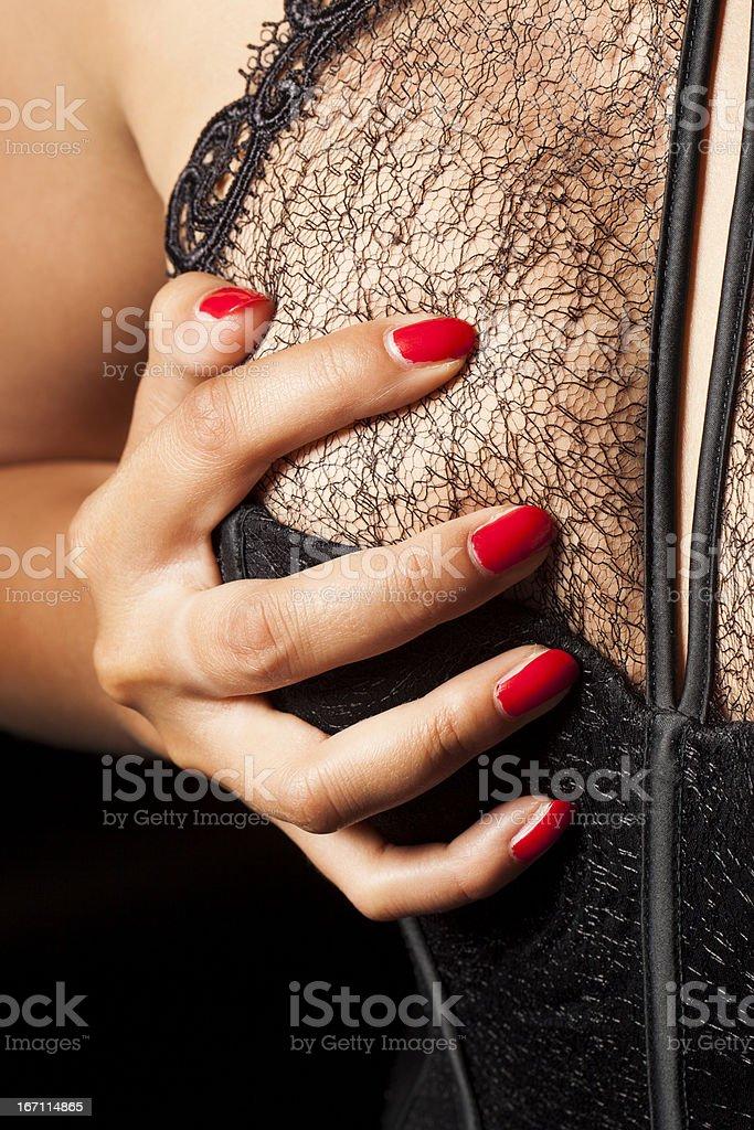 Woman Holding Tit royalty-free stock photo