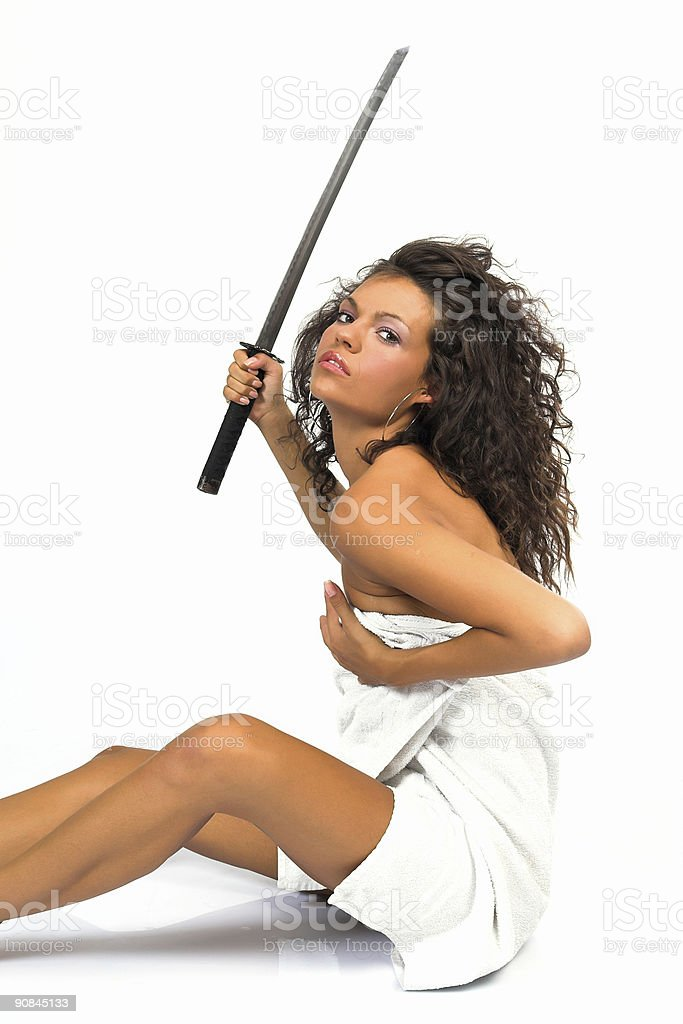 Woman holding traditional japanese sword royalty-free stock photo