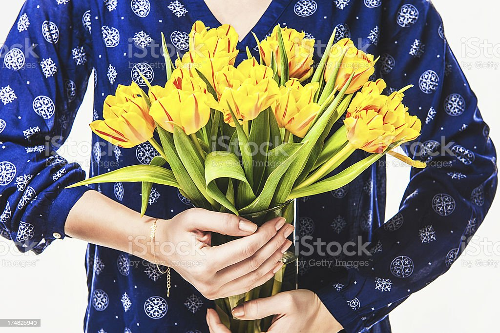 Woman holding tulips royalty-free stock photo