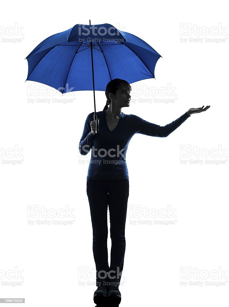 woman holding umbrella palm gesture  silhouette royalty-free stock photo