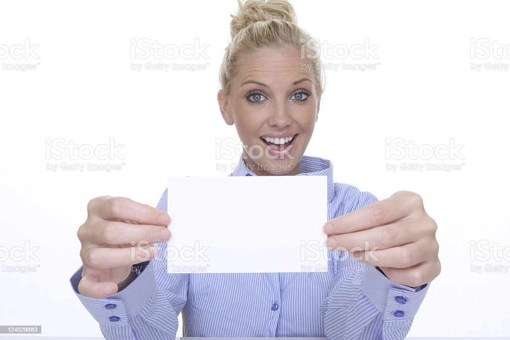 woman holding up blank card stock photo