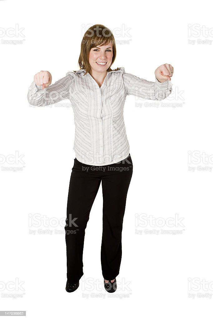 Woman holding up object royalty-free stock photo